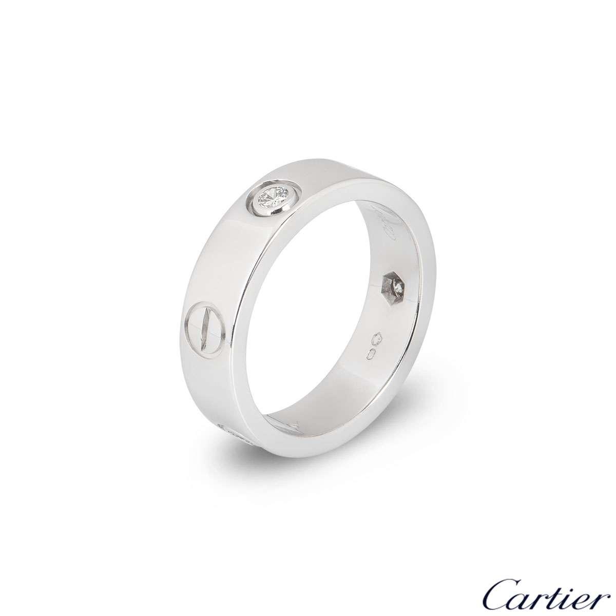 Cartier White Gold Half Diamond Love Ring Size 55 B4032500
